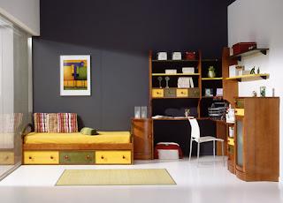 dormitorio con cama nido con cajones pino