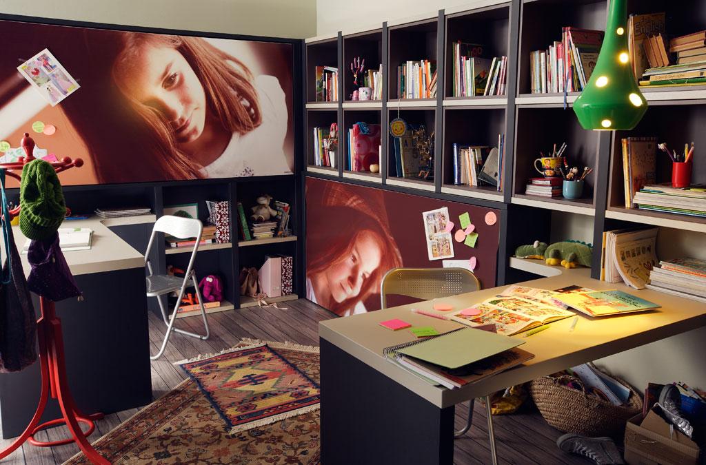 Dormitorio avatar pro con 2 camas abatibles una alta y una baja estanterias y mesas de estudio - Literas abatibles lagrama ...