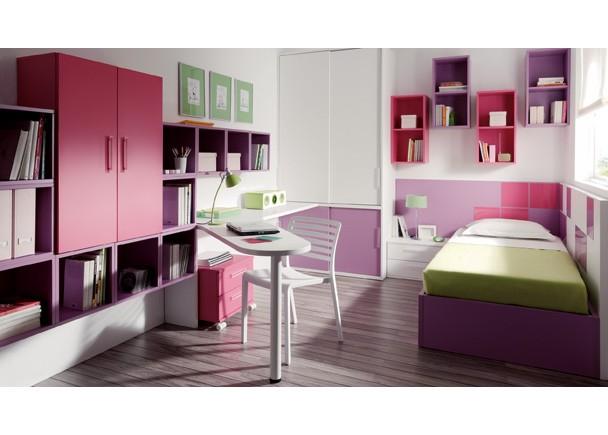Este dormitorio para una ni a con una cama con canaper - Dormitorios juveniles para ninas ...
