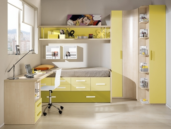 Dormitorio juvenil con puente cama compacto armario de for Mueble puente juvenil