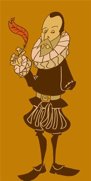 Caricatura de Cervantes