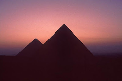 Egypt Giza Pyramids after sunset Photo