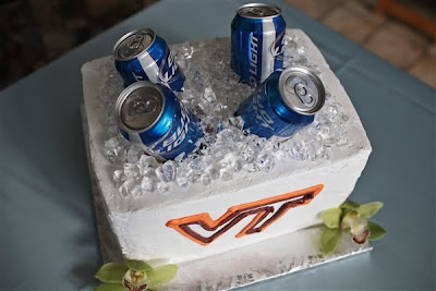 Beer Cooler Cake http://www.weddify.com/2010/10/real-wedding-gillian-jon-pro-photos.html