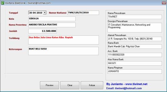 Membuat Kuitansi Pembayaran Dengan Software Kwitansi Elektronik