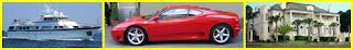 luxury yatch red sports car mansion