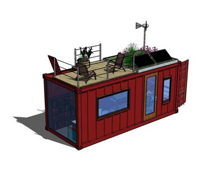 Reclaimed shipping container converted to mobile office by BSq Landscape Design