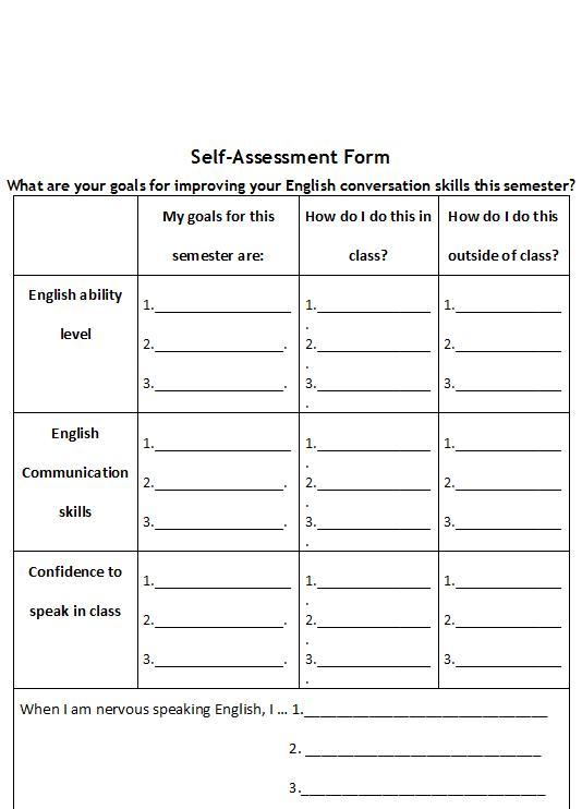 English Conversation Class SelfAssessment Form