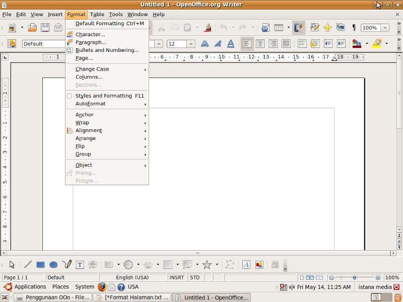 Buka Dokumen baru pada OpenOffice.org. Writer, lalu klik menu Format