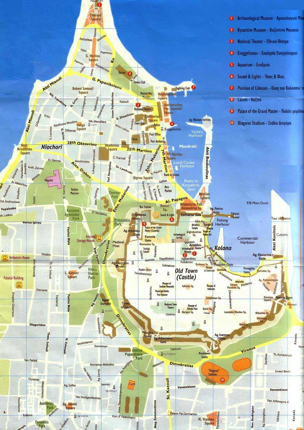 rhodes town street map