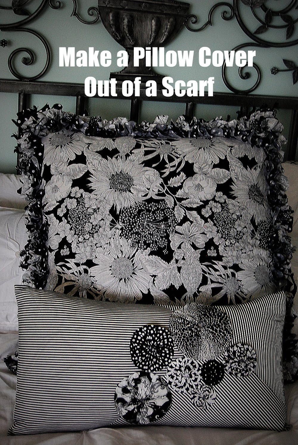 Make A Ruffly Pillow Cover Out Of A Scarf Tatertots And