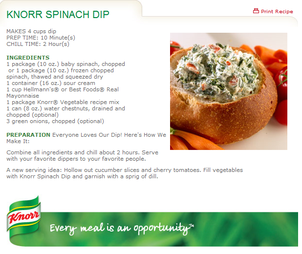 luther vandross: Knorr Spinach Dip