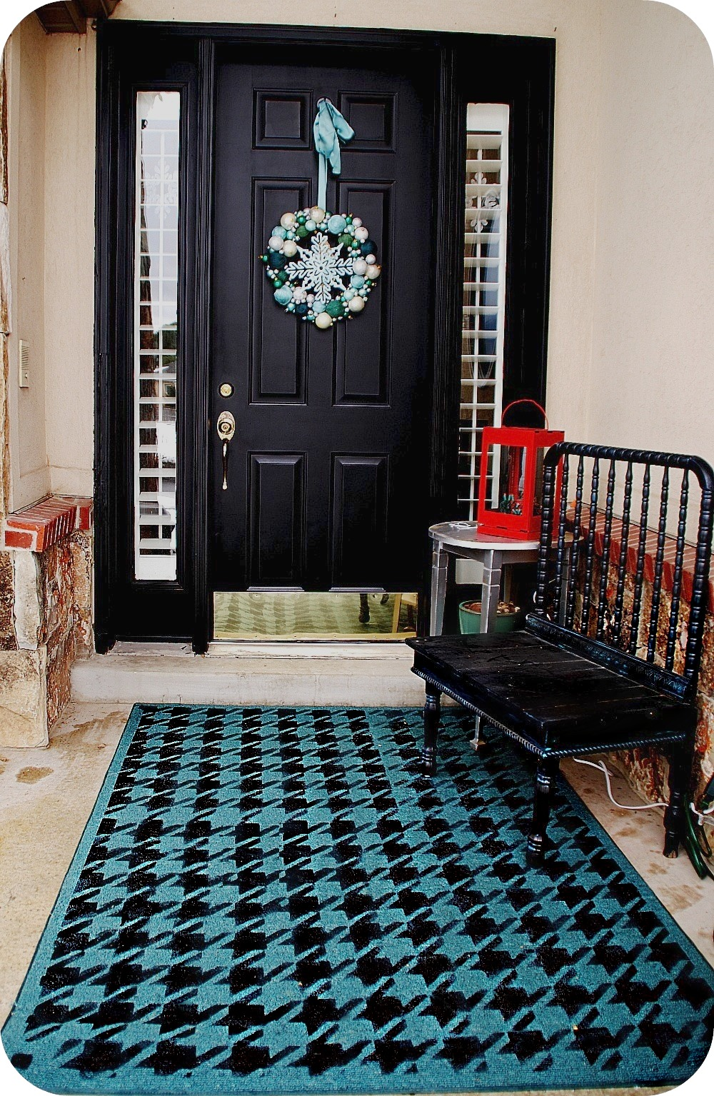 painting my door and stenciling a rug for my front porch. Black Bedroom Furniture Sets. Home Design Ideas