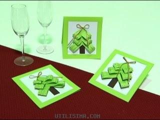 Tarjetas de navidad con cintas portal de manualidades - Tarjetas navidenas para hacer ...