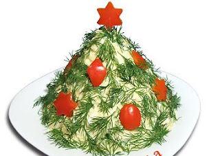 Новогодний салат из плавленых сырков