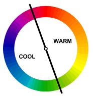 Lingkaran warna boleh dibahagikan menjadi warna-warna hangat dan sejuk