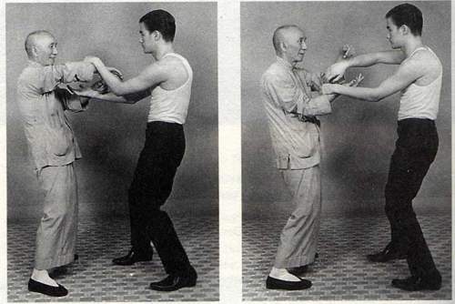 Ip Man practising with Bruce Lee