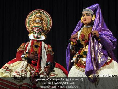 RambhaPravesham Kathakali (Selected scenes from RavanaVijayam): Inchakkattu Ramachandran Pillai as Ravanan, Margi Vijayakumar as Rambha.
