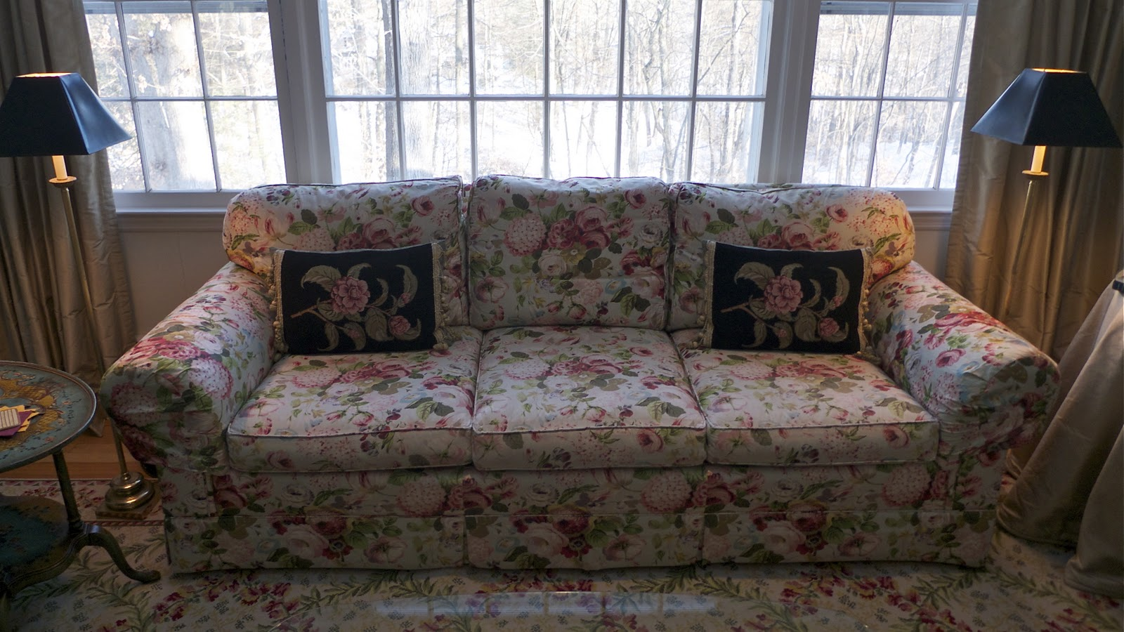 Stamford moving sale 2011 baker sofa for Chintz couch