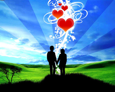Image / Photo / Pic : Romantic Couple , Red Hearts , Blue Sky