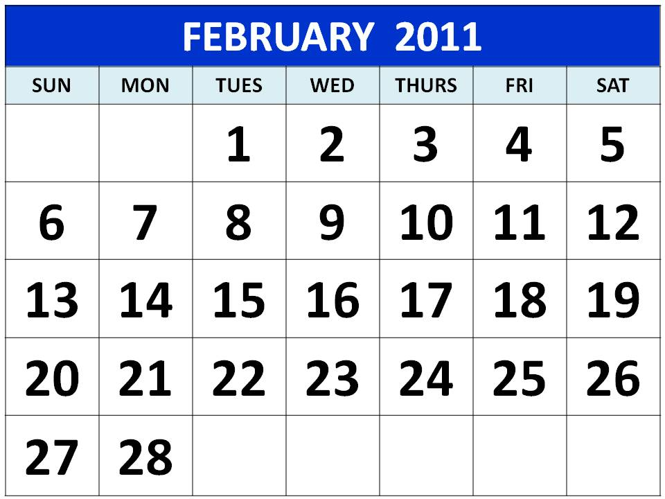 2011 calendar printable one page. Download Printable February