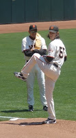 Giants pitcher Tim Lincecum warming up