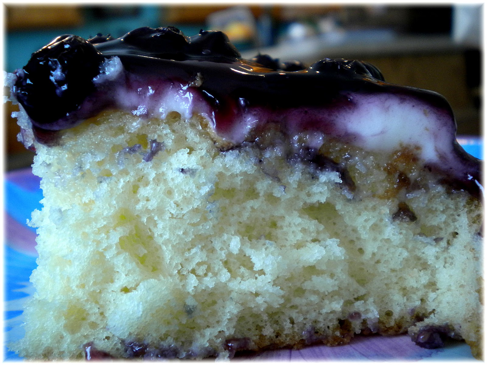 Mom Taught Us...: White Cake with Cream Cheese Frosting & Blueberry ...