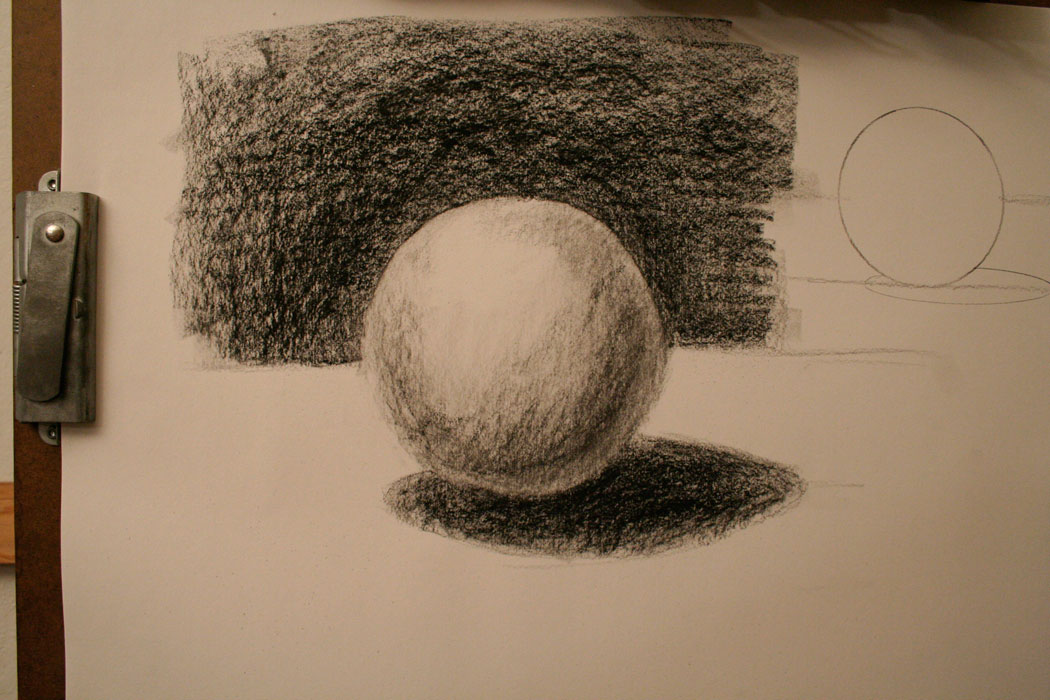 kenney mencher demonstration drawing the sphere in charcoal