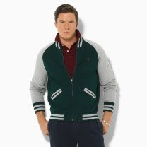 Polo Ralph Lauren Fleece Baseball Jacket in Hunt Club Green