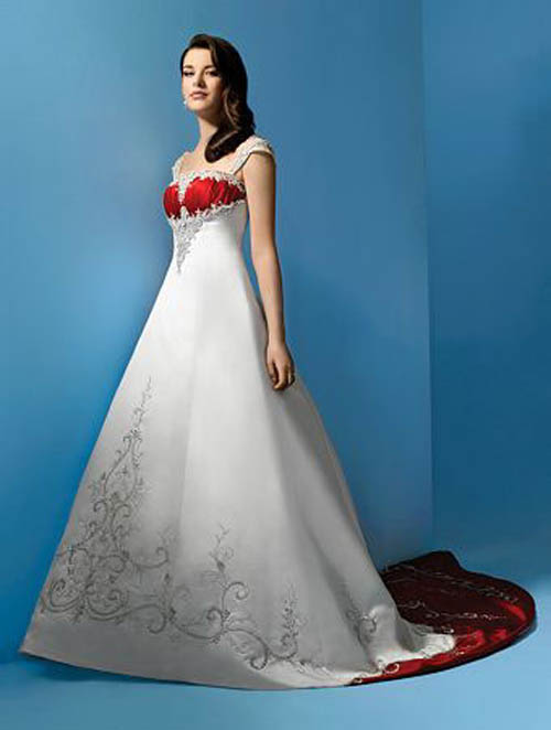 White Wedding Dresses With Red Trim : Hristina s red lace trim vintage embroidered