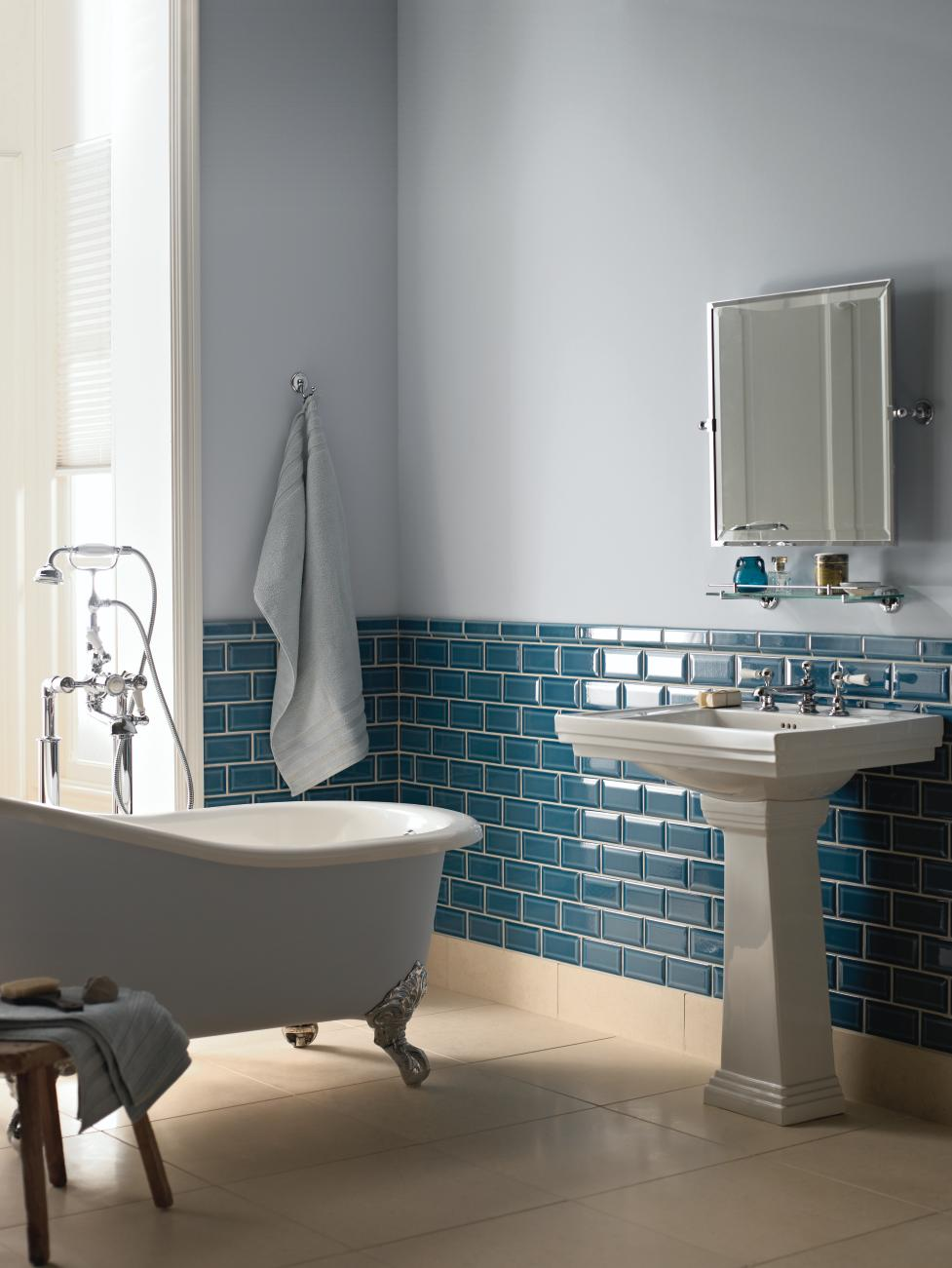 Fired earth tiles bright bazaar by will taylor for Teal and gray bathroom ideas