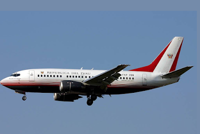 official aircraft of the President of Peru is a Boeing 737-500.<br />