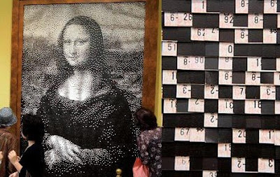 Mona Lisa made out of again train tickets