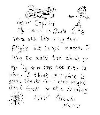 A Note From 8-Year-Old Girl To The Captain Of The Flight