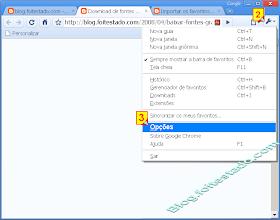 Opções no navegador Google Chrome