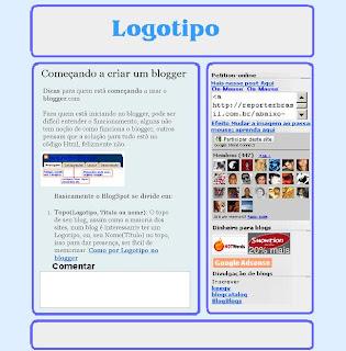 onde fica o logotipo, postagem, lateral com gadget no blogger