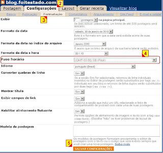 Configurar o fuso horario do blogger