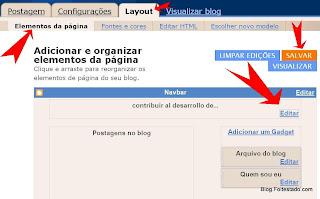 acesse o design do blogger para colocar uma imagem(logotipo) no blog do blogger