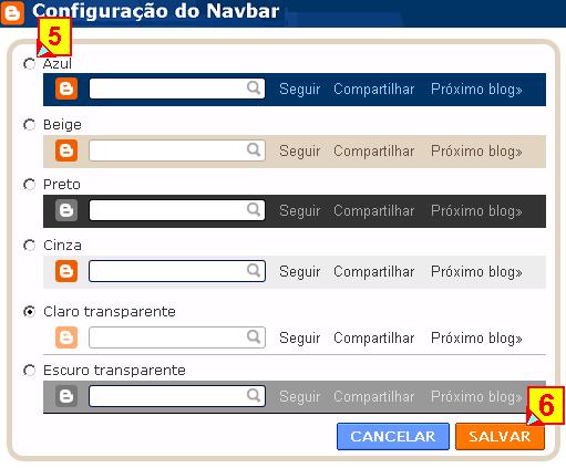 Escolher e trocar a navbar no blogger