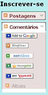 Gadget do blogger de inscrição em feed rss, cores marrom escuro