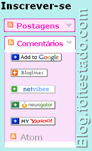Gadget do blogger para inscrição em feed, cores pink