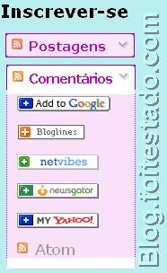 Gadget para inscrição em feed rss, cores lilas