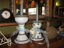 Adorable candle holders in stripes and polka dots!