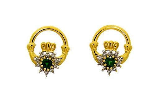Emerald Claddagh Diamond Earrings