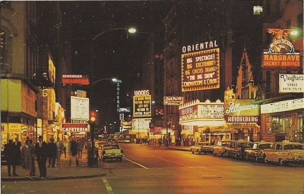 [X+POSTCARD+-+CHICAGO+-+RANDOLPH+STREET+-+NIGHT+-+VAUGHN'S+SEEDS+-+ORIENTAL+THEATER+-+WOODS+THEATER+-+OLD+HEIDELBERG+-+OTHER+SIGNS+-+NICE+-+c1960.jpg]
