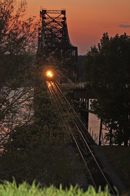 Train Crossing Mississippi River at Sunset, Vicksburg, Mississippi