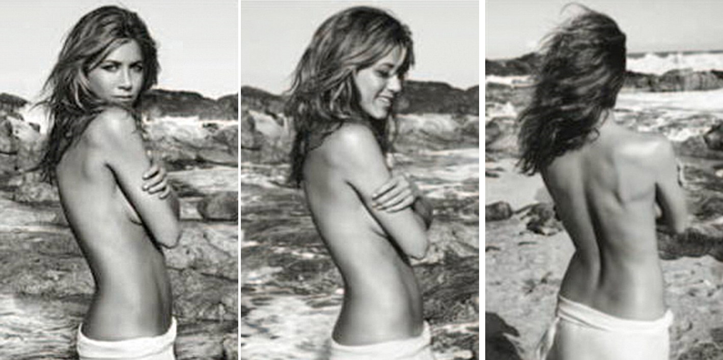 jennifer aniston topless for perfume