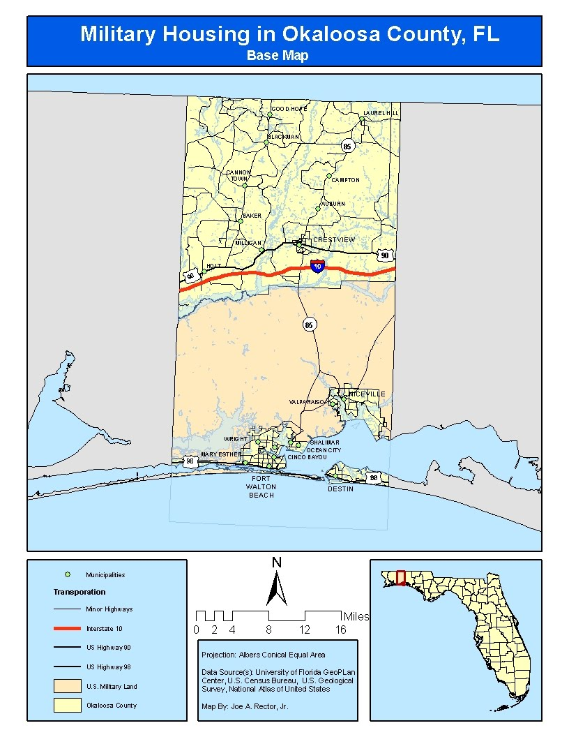 the topic i chose was potential areas for military housing near the bases located in okaloosa county florida