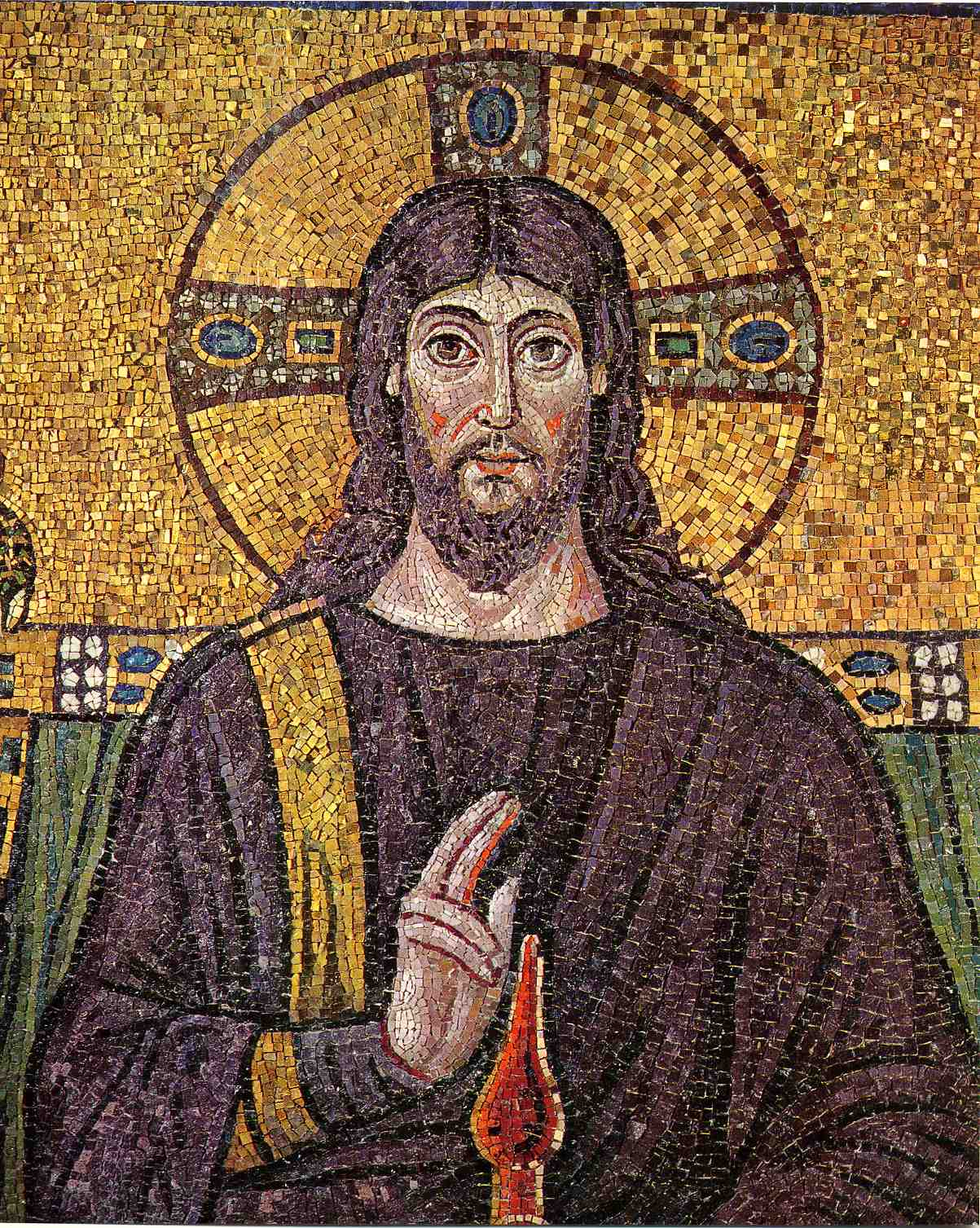 Mosaic Of Jesus At Basilica Of Sant  Apollinare Nuovo