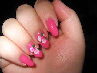 Beautiful Pink Tea Rose Nail Art-1