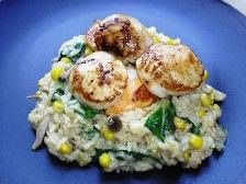 Japanese Rice Risotto with Miso, Lemongrass and Scallops